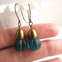 Teal Earrings Vintage Czech Glass Bead Earrings Fall Fashion