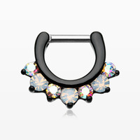 Blackline Opalite Sparkle Deuce Septum Clicker Ring
