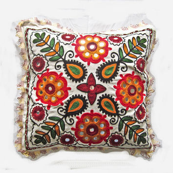 Vintage Indian handcrafted embroidery mirror work cushion cover, pillow cover, throw pillow, decorative pillow, suzani pillow cover 009