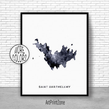 Saint Barthelemy Print, Office Art Print, Watercolor Map Print, Map Art Map Artwork Office Decorations, Country Map, Art Print Zone