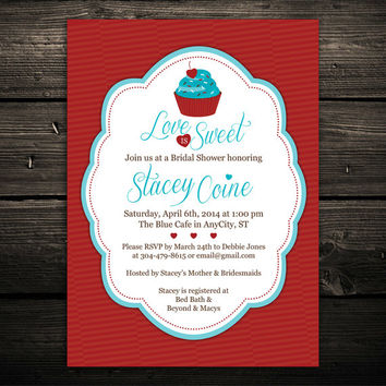 Cupcake Bridal Shower Invitations -- 5x7 printed on cardstock -- available in any color, single or double sided