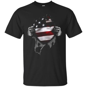 American Flag T Shirt. Proud American_Black