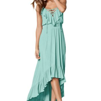 Chicloth Mint Green Lace Up V Neck Ruffle Trim Hi-low Maxi Dress