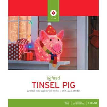 Lighted Tinsel Pig w/ Hat & Scarf