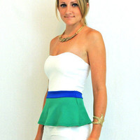 color block tulip peplum top in green blue and white - $34.00 | Daily Chic Tops | International Shipping