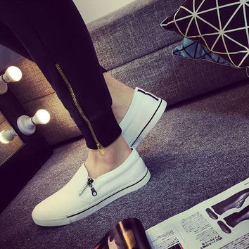 Mens Hip Canvas Style Shoes with Side Zipper