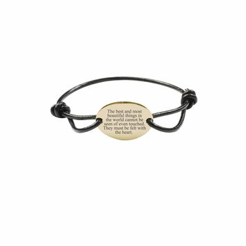 Fully Adjustable Genuine Leather Inspirational Bracelet