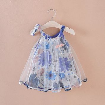 ABSOLUTELY BEAUTIFUL Baby Girl Dress Summer Flower Print Cute Dress For Girl Clothes Newborn Girl Princess Mesh Dress