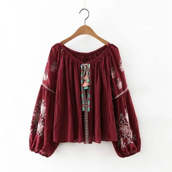 Women's Fashion Vintage Embroidery V-neck Heavy Work Tassels Tops [8511500871]