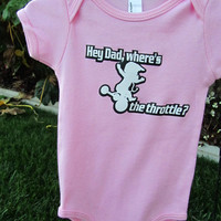 Moto Baby girl/Wheres the throttle pink onezie by ZLTkidz on Etsy