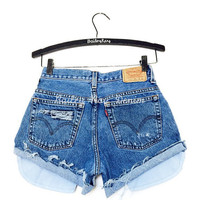 ALL SIZES Women Levi High Waisted Denim Shorts - distressed, small medium large extra large extra extra large