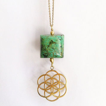 Turquoise Necklace, Seed of Life, Gemstone Necklace, Crystal Necklace, Gemstone Pendant, Boho Chic, Sacred Geometry, Ethnic Necklace