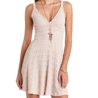 Triangle Top Crochet Skater Dress by Charlotte Russe - Pale Blush