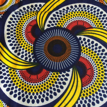 African Wax Print Fabric by the HALF YARD. Yellow, Red, Orange, and Blue--Bananas, Dots and Rings