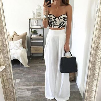 design white high waist long pants