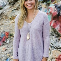Long Sleeve Soft Knit Top, Dusty Lilac