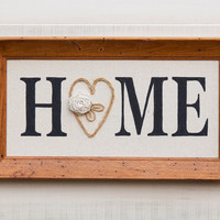 Canvas HOME wall art in vintage 50's wormy wood frame, hand painted word, ribbon rose, twine accents. Country Cottage Chic Rustic Decor