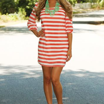 Are You Happy Now Dress: Coral/White