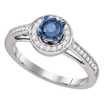 10kt White Gold Womens Round Blue Color Enhanced Diamond Solitaire Bridal Wedding Engagement Ring 3/8 Cttw
