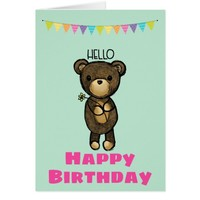 Cute Brown Bear with Yellow Flower Happy Birthday Card