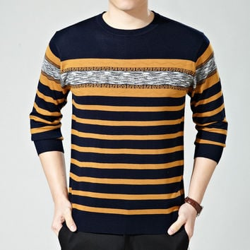 Summer Round-neck Knit Tops Stripes T-shirts [6541360451]
