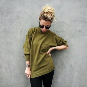 90's Army Green Slouchy Grunge Sweater