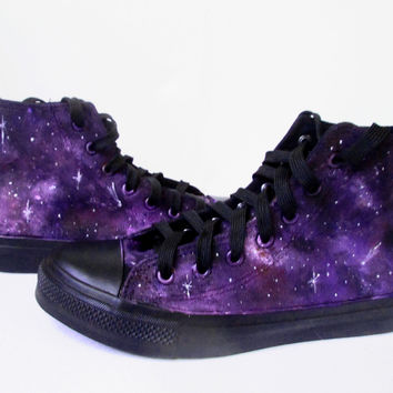 Custom handpainted purple galaxy sneakers,personalized shoes, galaxy converse, galaxy vans