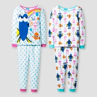 Disney® Girls' 4 Piece Dory Pajama Set - White