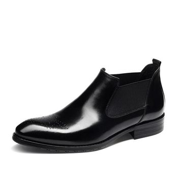 High Quality Men's Genuine Leather Black/Red Slip-On Pointed Toe Working Office Wedding Oxford Formal Ankle Boots