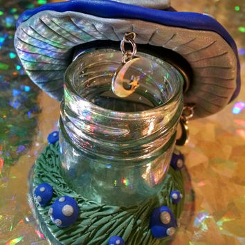 Blue and Silver Mushroom Family Jar with Crescent Moon & Stars Dangles Jar for Jewelry Lotions or Medicine