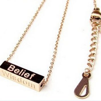 Wishing Column Letter Rose Gold Titanium Steel Necklace, Rectangular Pendant Necklace   171205