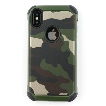 iPhone X Case,Defender Shockproof Dual Layer Military Army Camo Design Armor Plastic and Leather TPU Hybrid Rugged Camouflage Painting Pattern Case for iPhone X / iPhone 10 2017 Edition (Camo Green)