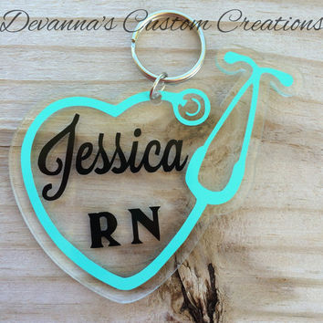 Nurse Stethoscope Key Chain with Name and Title