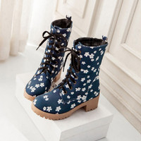 New fashion sweet floral boots