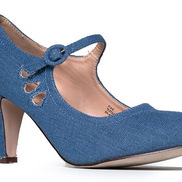 Mary Jane Pumps - Low Kitten Heels - Vintage Retro Round Toe Shoe With Ankle Strap - Pixie By J. Adams Denim 5.5 B(M) US '