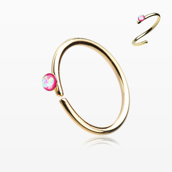 Golden Opal Sparkle Bendable Steel Nose Hoop