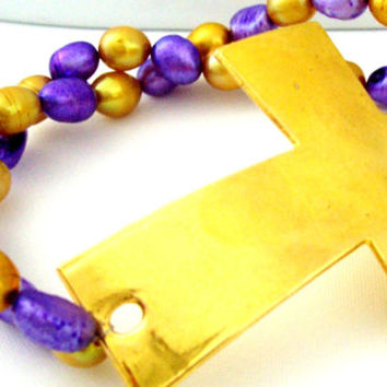 Biblical Jewelry For Her, Cross Bracelet, Christian Jewelry, Christian Bracelet, Large Cross Pendant Bracelet, Purple and Gold