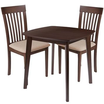 Windsor 3 Piece Walnut Wood Dining Table Set with Rail Back Wood Dining Chairs - Padded Seats