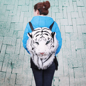 Unique Dimensional Simulation Tiger Head Animal Backpack