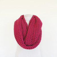 XL Big Chunky Infinity Scarf Loop Circle Thick Knit Scarf Shawl Hood Ruby Pink / Women's Infinity Scarf / Men's Infinity Scarf