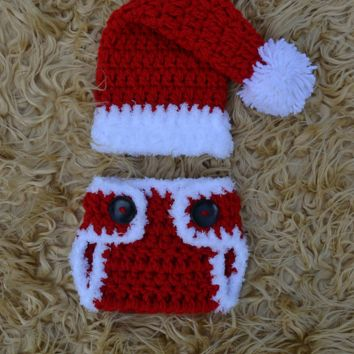 Crochet Newborn Santa Outfit Baby Christmas Photo Prop