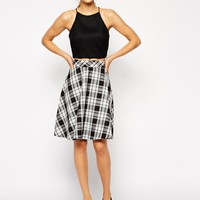 ASOS Circle Skirt In Check