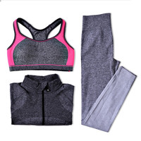 B.BANG Yoga Sets Women Gym Clothes Breathable Sports Bra + Pants + Shirt Yoga Set for Gym Running Sportwear Woman Clothing Suit