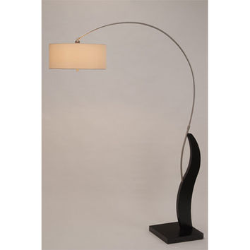 NOVA Lighting 2110340 Bloom Dark Brown and Brushed Nickel One-Light Arc Lamp with Beige Linen Shade