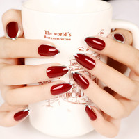 24pcs Vampire Queen Fake Nails Short Sharp Head Wine Red Sliver Side faux ongles in acrylic box valse nagels wijn rood