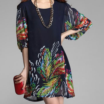 Deep Blue Printed 3/4 Sleeve Chiffon Dress