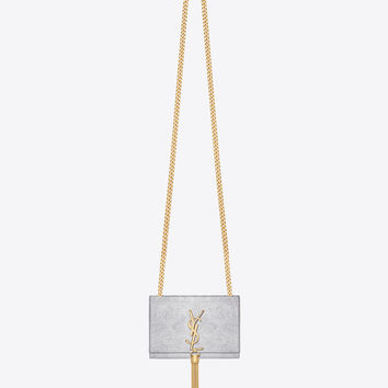 Saint Laurent Classic Small Monogram Saint Laurent Tassel Satchel In Silver Textured Metallic Leather | ysl.com