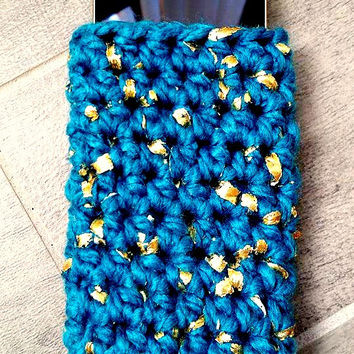 Gold Leaf Crochet Cell Phone Case, Cell Phone Sleeve, Glam Gold Foil and Wool Crochet Phone Case, Mothers Day Gift Phone Sleeve, Teal Case