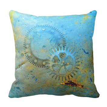 Aqua Gears Steampunk Pillow