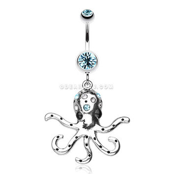 Octopus Sparkle Belly Ring (Aqua)